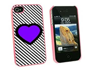 Creative Graphics and More Big Purple Heart Love Black Stripes - Snap On Hard Protective Case for Apple iPhone 4 4S - Pink - Carrying Case - Non-Retail Packaging - Pink