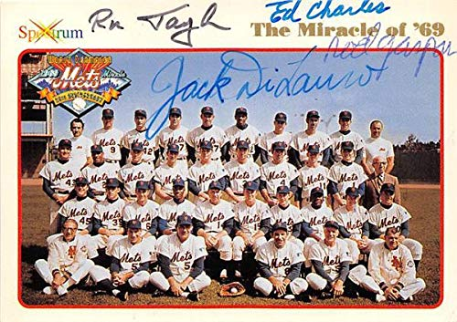 - 1969 New York Mets baseball card autographed by Ron Taylor Ed Charles Rod Gaspar Jack DiLauro 1994 Spectrum #2