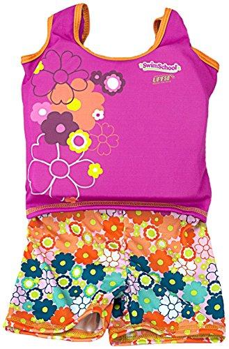 Aqua Leisure ET9136L Girls 1 pc Swim Trainer, Floral Print Shorts, Printed top, with Back Zipper - L - Suit Inner Tube