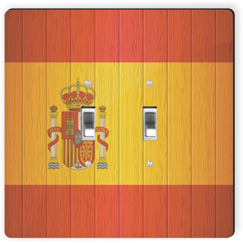 Rikki Knight 8561 Double Toggle Spain Flag On Distressed Wood Design Light Switch Plate by Rikki Knight