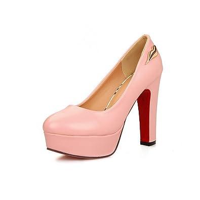 2cd69a562c10c BalaMasa Ladies Chunky Heels High-Heels Imitated Leather Pumps-Shoes