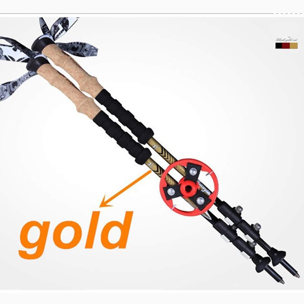 100%カーボンファイバーハイキングスティック、バックパッキング用調整可能トレッキングポール、クイックフリップロック付きウルトラライト、コルクグリップ、タングステンチップ(2パック)  Gold B07SY62XQW