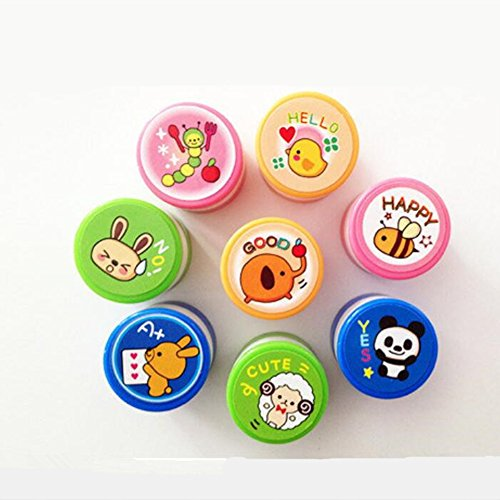 Lanlan 8pcs/set Expression Cartoon Animal Self Inking Round Seal Stamper Toy for Kids