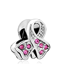 Pink Birthstone Crystal Ribbon Breast Cancer Awareness Charms Jewelry Bead Fit Pandora Bracelet