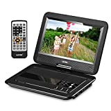 "UEME 10.1"" Portable DVD Player CD Player with Car Headrest Mount Holder, Swivel Screen Remote Control Rechargeable Battery Car Charger AC Adapter, Mini DVD Player PD-1010 (Black)"