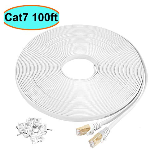Cat7 Ethernet Cable 100 ft White Shielded (STP), AULLOV High Speed Flat RJ45 Cat-7/Category 7 Internet LAN Computer Patch Cord Cable, Faster Than Cat5/Cat6-100 Feet White (30 Meters) (Cat6 Patch Cord 100 Foot)