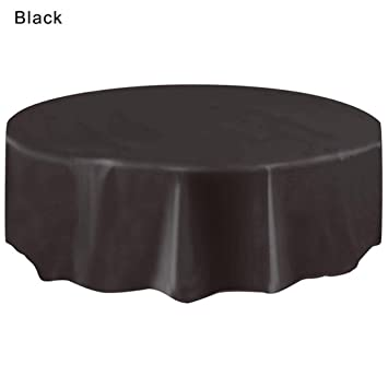 Disposable Plastic Tablecovers ,Vanvler Circular Tablecloth For Birthday  Party Large (Black)