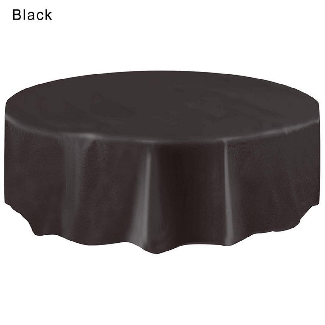 Disposable Plastic Tablecovers,Vanvler Circular Tablecloth for Birthday Party Large (Black)