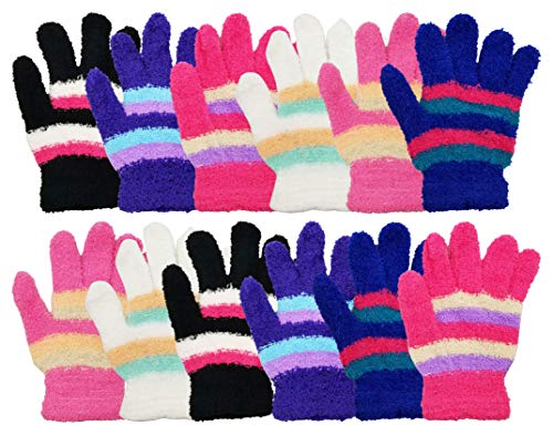 - Winter Magic Gloves, 12 Pairs Stretchy Warm Knit Bulk Pack Mens Womens, Wholesale (12 Pairs Striped Chenille [Womens])