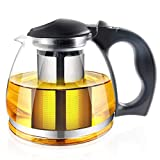 51 Ounce Loose Leaf Glass Teapot by RayPard, Built in Infuser and Removable Filter