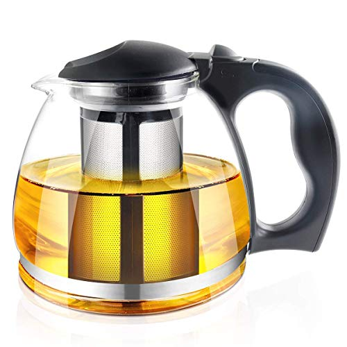 51 Ounce Loose Leaf Glass Teapot by RayPard, Built in Infuser and Removable Filter by RayPard