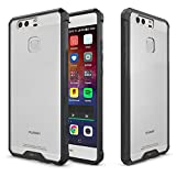 Heartly Transparent Clear PC + TPU Hybrid Slim Hard Rugged Armor ShockProof Bumper Back Case Cover For Huawei Ascend P9 - Frame Black