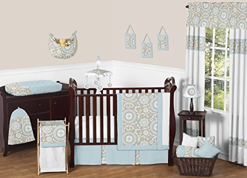 Blue and Taupe Hayden Gender Neutral Baby Bedding 11pc Girl
