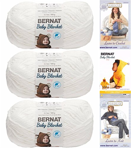 Bernat Baby Blanket Tiny 3 Pack 100 Percent Polyester Gauge Medium 4 Worsted Bundle (Snow Cap)
