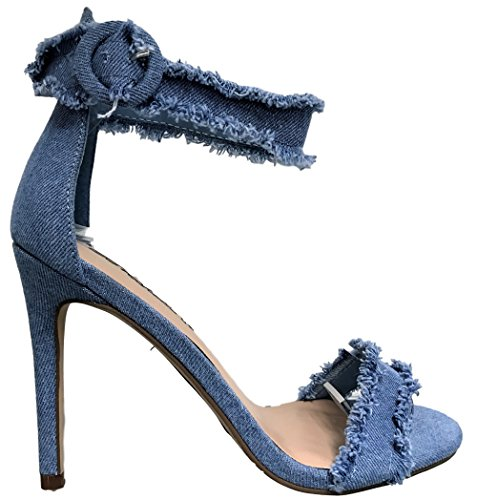 Breckelles Paso-19 Open Toe Stiletto High Heel Ankle Strap Denim Sandal Shoe Blue Blue XQ5xT9Ed7