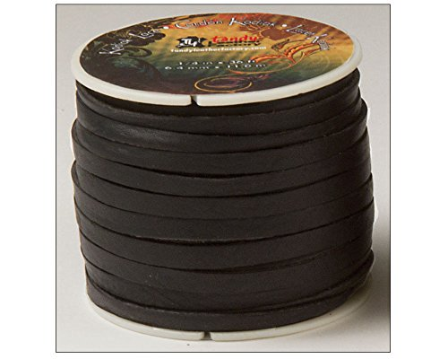 "Tandy Leather Kodiak Lace 1/4"" x 36 ft (6 mm x 10.9 m) Black 5076-01"