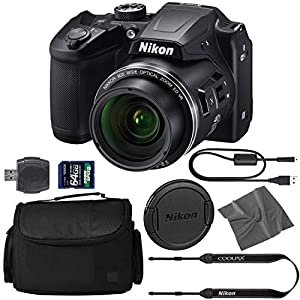 Nikon COOLPIX B500 Digital Camera: (Black) (26506) + 64GB AOM Pro Kit: International Version