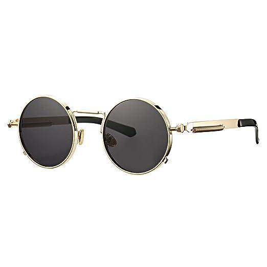 e3f876d2735e4 COASION Vintage Round Flat Lens Steampunk Sunglasses Metal Frame Shades for  Men Women (Gold Frame