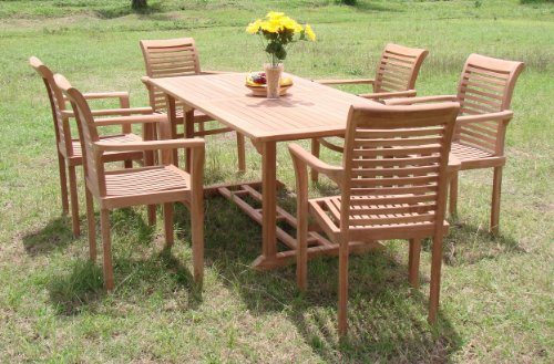 New 7 Pc Luxurious Grade-A Teak Dining Set – 71″ Mas Rectangle Table (Trestle Legs) And 6 Mas Stacking Arm Chairs #WHDSMS7