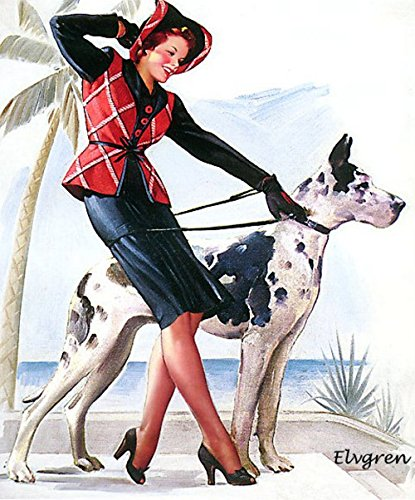 Perfect Pair Great Dane Pin-Up Girl Gil Elvgren Print Art Print - 8 in x 10 in - Matted to 11 in x 14 in - Mat Colors Vary -