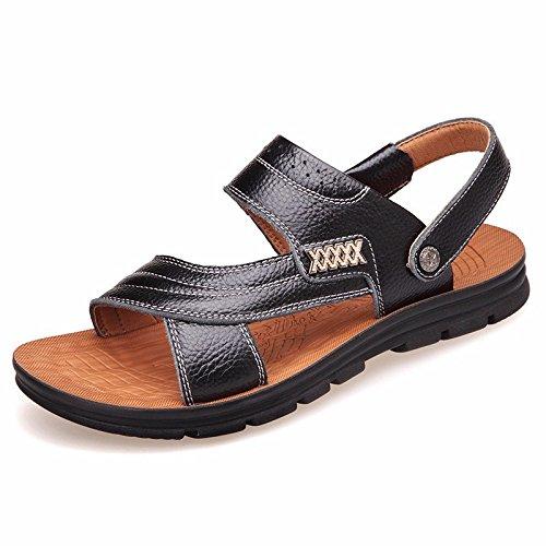Uomini sandali Uomini vera pelle Il nuovo Spiaggia scarpa gioventù estate tendenza alunno sandali Tempo libero scarpa ,neroC,US=9.5,UK=9,EU=43 1/3,CN=45