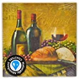 Square Naturally Absorbent Wine-Themed Stone Coasters, Set of 4, Size 3.75'' X 3.75''
