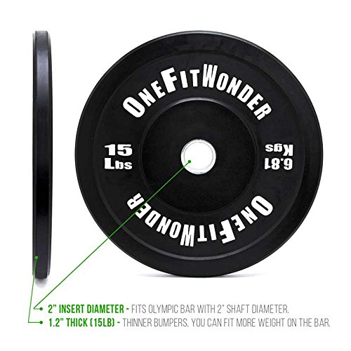 OneFitWonder Contrast Bumper Plate Sets/Virgin Rubber with Steel Insert + Colored Lettering/CrossFit, Strength Training and Weightlifting Equipment