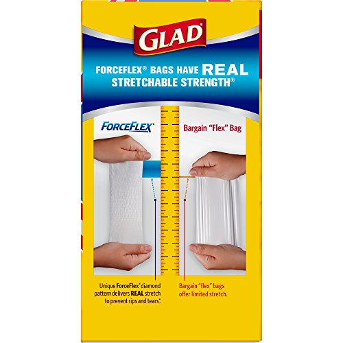 Glad ForceFlex Tall Kitchen Drawstring Trash Bags, Unscented, White, 13 Gallon -76 count (Packaging May Vary)
