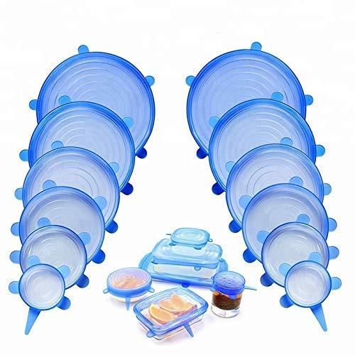 Frischhaltedeckel Schelbras Dehnbare Silikondeckel 12er Set Silikon Stretch Deckel Stretch Lid Wiederverwendbare Silikon Abdeckung in verschiedenen Gr/ö/ßen