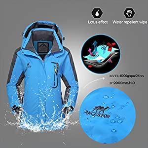 Waterproof Ski Jacket Rain coats for Women -GIVBRO Outdoor Hooded Softshell Camping Hiking Mountaineer Travel Windproof Jackets