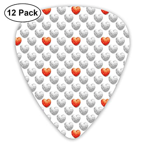 Guitar Picks 12-Pack,Red Heart Contrast With Many Gray Hearts Polygonal Effect Love Concept