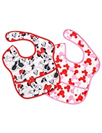 Bumkins Disney Baby Waterproof SuperBib - Minnie - Girl - 2 count, Pink