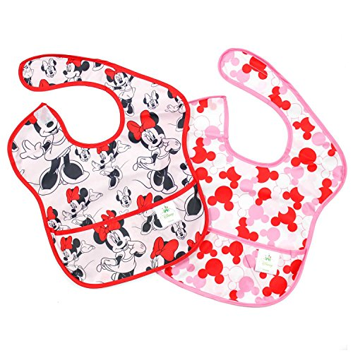 (Bumkins Disney Minnie Mouse SuperBib, Baby Bib, Waterproof, Washable, Stain and Odor Resistant, 6-24 Months, 2-Pack - Classic/Icon)