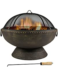 30 inch fire bowl fire pit with handles and spark screen by sunnydaze - Fire Pit Bowl