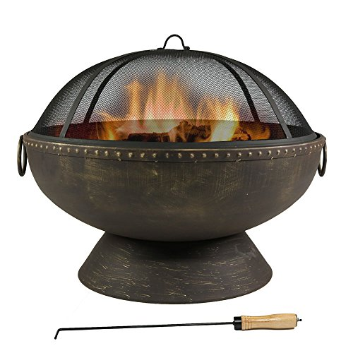 30 Inch Royal Fire Bowl Fire Pit with Handles and Spark Screen (Large Image)