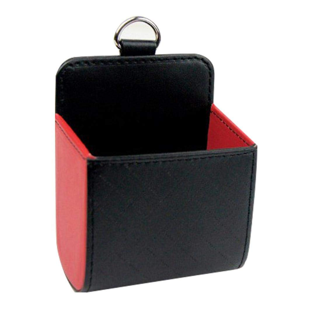 YUSHHO56T Car Storage Pouch Interior Storage Storage Pouch Faux Leather Car Outlet Air Vent Organizer Box Mobile Phone Storage Bag Pouch Black Red