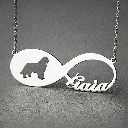 (Personalised Newfoundland Dog Infinity Necklace - Newfoundland Dog Infinity Name Jewellery - Dog Jewelry - Dog breed Necklace - Dog Necklaces)