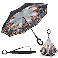 Elover Inverted Umbrellas, Double Layer Reverse Umbrella with C-Shaped Handle Windproof UV Protection Reverse Umbrella for Car Rain Outdoor