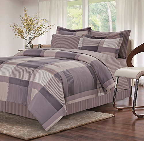 - Brown & Grey Harmony Grey 8-Piece Bed-in-Bag, Queen