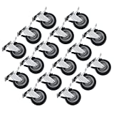 OrangeA Swivel Casters 5 Inch X 1-1/4 Inch Caster Wheels Set of 16 Heavy Duty Industrial Casters All Swivel All Brake Casters Non Skid No Mark