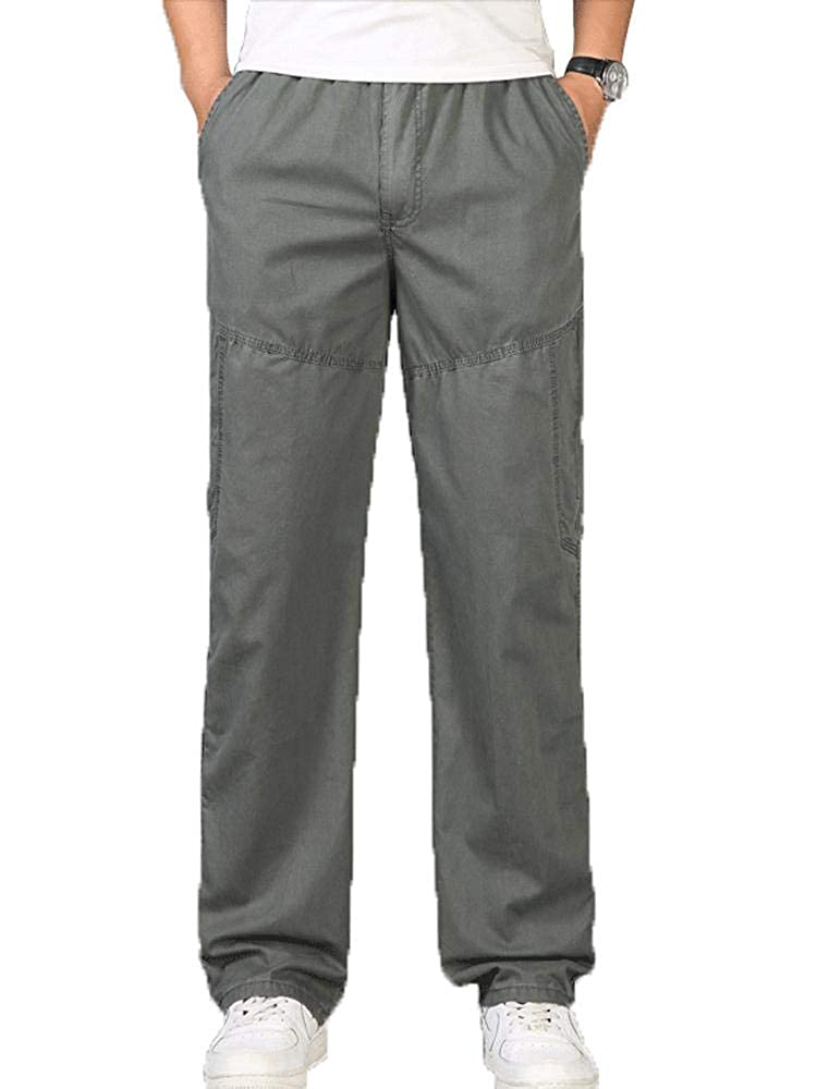 AKARMY Mens Loose Fit Plus Size Drawstring Elastic Waist Outdoor Casual Pants for Big and Tall