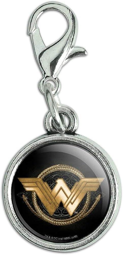 GRAPHICS /& MORE Wonder Woman Movie Golden Lasso Logo Antiqued Bracelet Pendant Zipper Pull Charm with Lobster Clasp