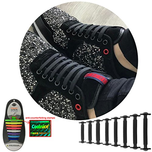 No Tie Shoelaces for Men and Women - Best in Sports Fan Shoelaces – Waterproof Silicon Flat Elastic Athletic Running Shoe Laces with Multicolor for Sneaker Boots Board Shoes and Casual Shoes (Black)