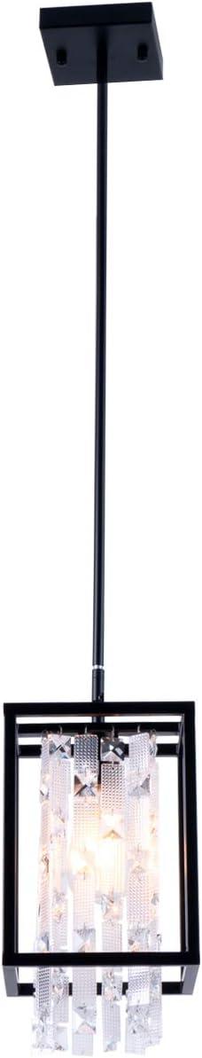 SHENGADI Modern Mini Crystal Pendant Light Vintage Hanging Light Fixture Metal Caged Pendant Lighting for Kitchen Island Dining Room Bedroom Farmhouse, Matte Black Finish