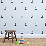 Set of 48 Anchor Pattern Wall Sticker Vinyl Sailing Nautical Wall Decal- Kids Boys Room Interior Decoration Mural (Navy Blue)