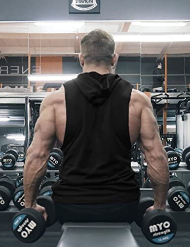 COOFANDY Men's Workout Hooded Tank Tops Bodybuilding Muscle Cut Off T Shirt Sleeveless Gym Hoodies    Product Description