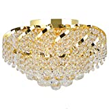 Worldwide Lighting Empire Collection 6 Light Gold Finish and Clear Crystal Flush Mount Ceiling Light 16″ D x 9″ H Round Medium