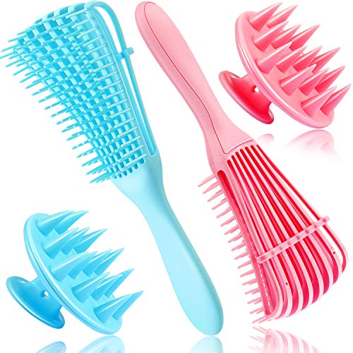 2 Pieces Detangling Brush Hair Detangler and 2 Pieces Hair Scalp Massager Exfoliating Shampoo Brush for 3a to 4c Hair…