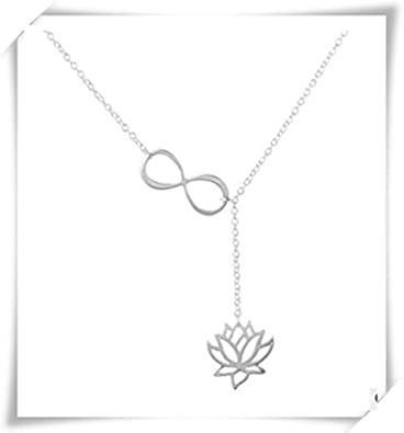Sterling Silver Infinity Lotus Necklacelotus Flower Necklace