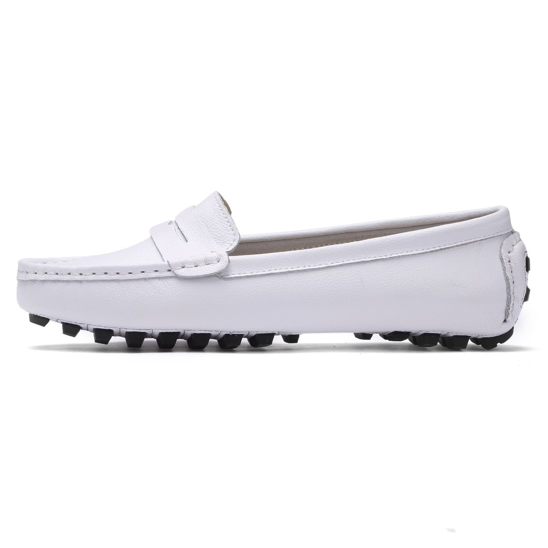 2214749a338 SUNROLAN Casual Womens Genuine Leather Penny Loafers Driving Moccasins  Slip-On Boat Flats Shoes 818 Christmas gift shop